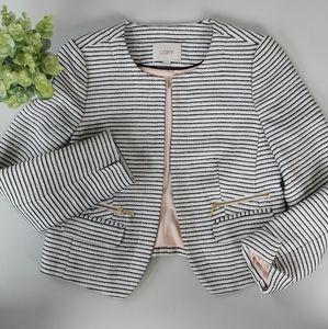 LOFT Petites Cream/Black Striped Blazer Size 6P